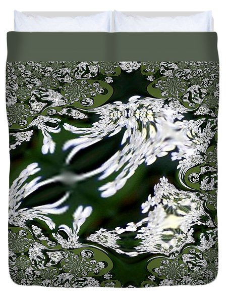 Fractal In Green And White Duvet Cover