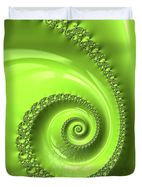 Duvet Cover featuring the digital art Fractal Spiral Greenery Color by Matthias Hauser