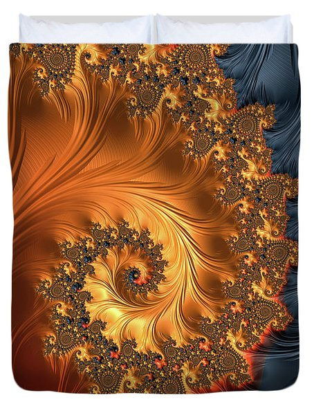 Duvet Cover featuring the digital art Fractal Spiral Orange Golden Black by Matthias Hauser