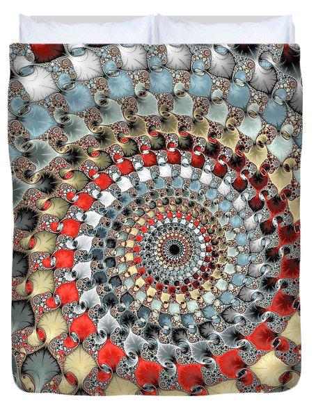 Fractal Spiral Red Grey Light Blue Square Format Duvet Cover