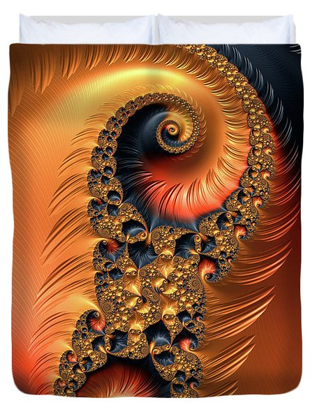 Duvet Cover featuring the digital art Fractal Spirals With Warm Colors Orange Coral by Matthias Hauser