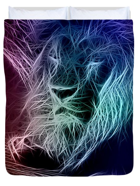 Fractalius Lion Duvet Cover by Zedi