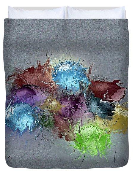 Duvet Cover featuring the digital art Fractured Bouqet 1 Pc by John Krakora