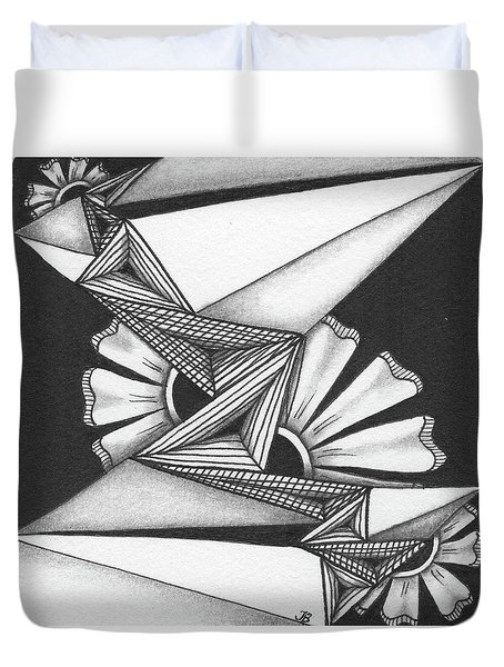 Duvet Cover featuring the drawing Fractured by Jan Steinle