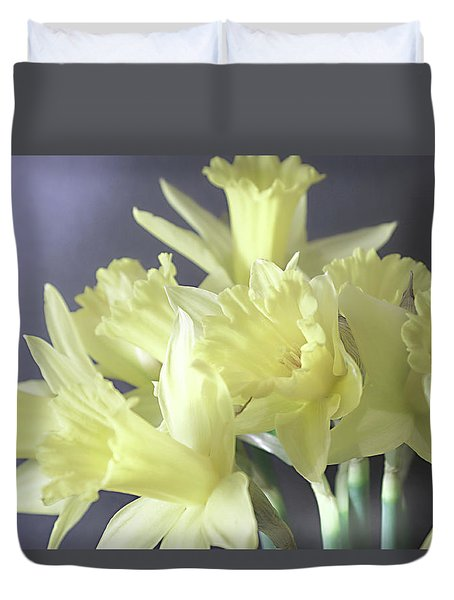 Duvet Cover featuring the photograph Fragile Daffodils by Jacqi Elmslie