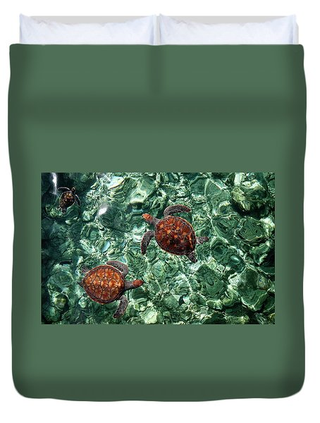 Fragile Underwater World. Sea Turtles In A Crystal Water. Maldives Duvet Cover