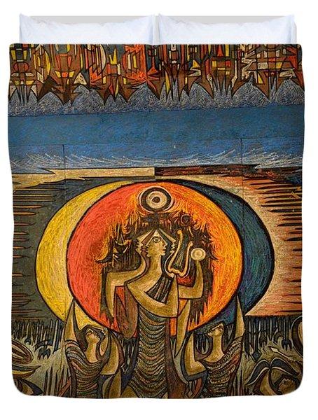 Fragment Of Ceiling Mural Painting By Artist Sadequain At Frere Hall Karachi Pakistan Duvet Cover