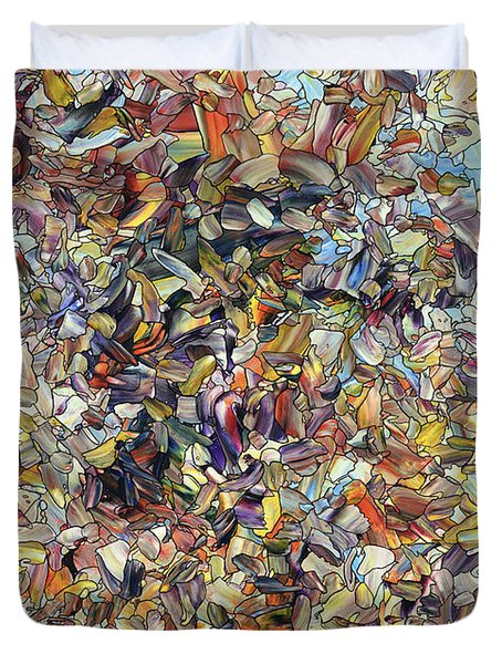 Duvet Cover featuring the painting Fragmented Horse by James W Johnson