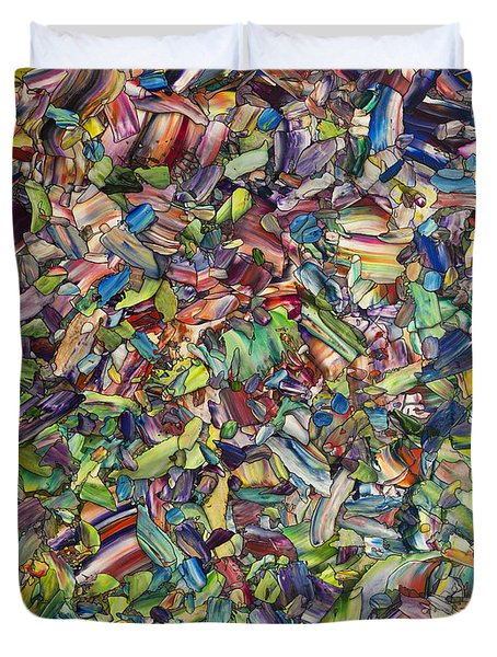Duvet Cover featuring the painting Fragmented Spring by James W Johnson