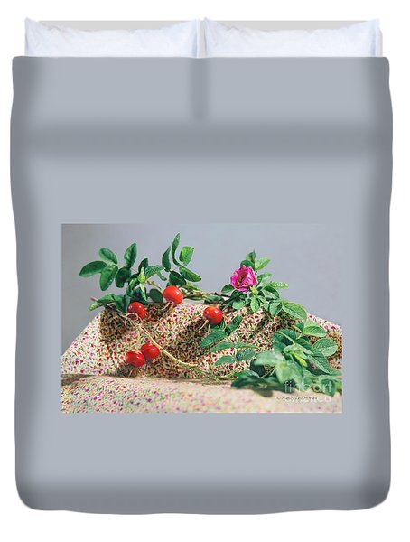 Duvet Cover featuring the photograph Fragrant Rugosa Rose With Rosehips And Leaves by Nancy Lee Moran