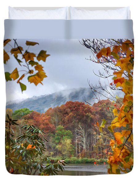 Framed By Fall Duvet Cover by Kerri Farley