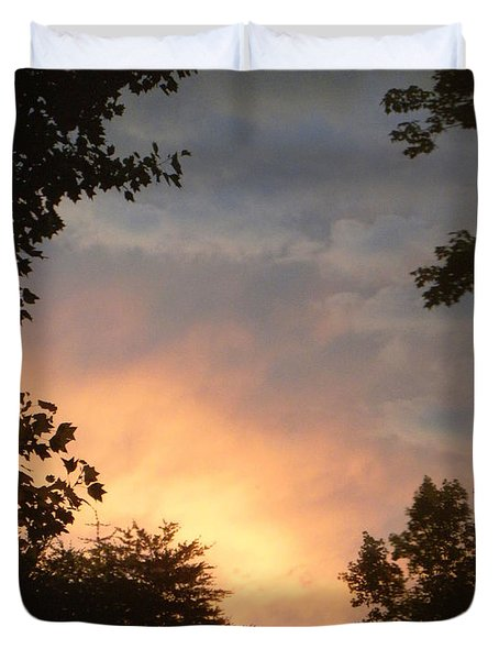 Duvet Cover featuring the photograph Framed Fire In The Sky by Sandi OReilly