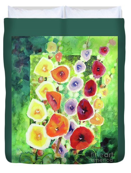 Duvet Cover featuring the painting Framed In Hollyhocks by Kathy Braud