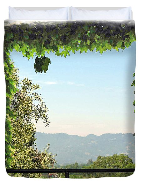Duvet Cover featuring the photograph Framing Napa Valley by Joan  Minchak