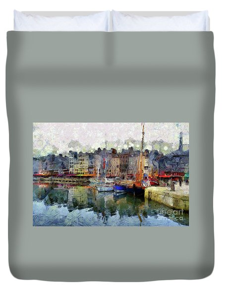 France Fishing Village Duvet Cover by Claire Bull