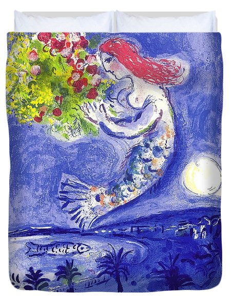 France Nice Soleil Fleurs Vintage 1961 Travel Poster By Marc Chagall Duvet Cover