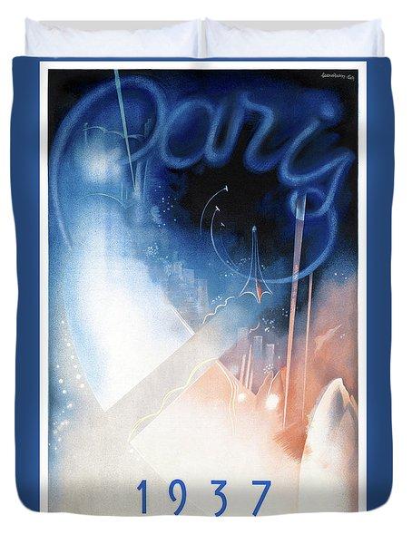 France Paris Vintage Travel Poster Restored Duvet Cover by Carsten Reisinger