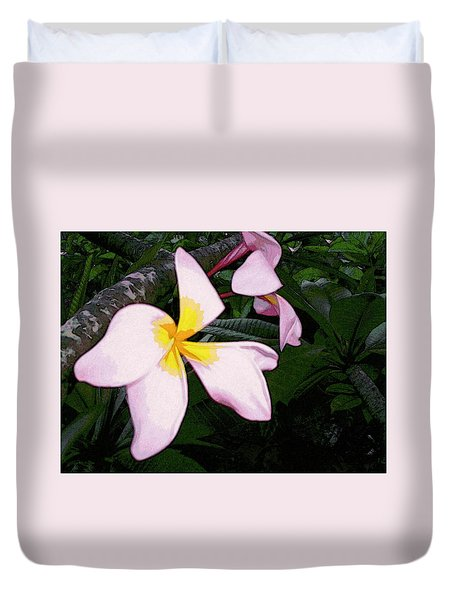 Duvet Cover featuring the digital art Frangipani Moment by Winsome Gunning
