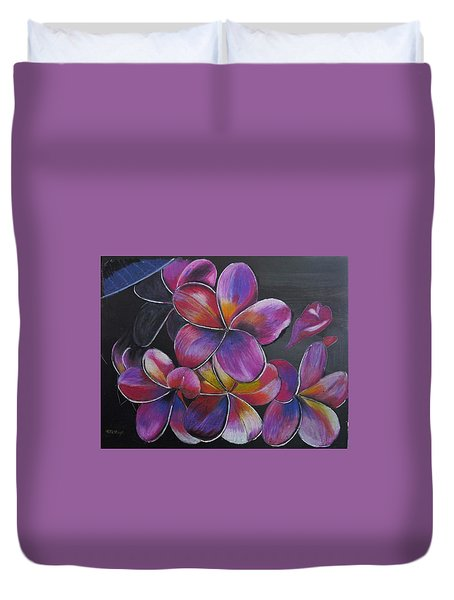 Duvet Cover featuring the pastel Frangipani  by Richard Le Page