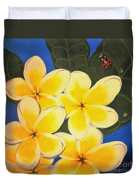 Frangipani With Lady Bug Duvet Cover