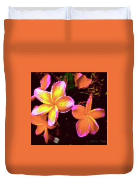 Frangipanis On The Glow Duvet Cover