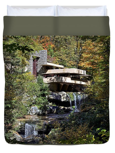 Frank Lloyd Wrights Fallingwater Duvet Cover by Brendan Reals