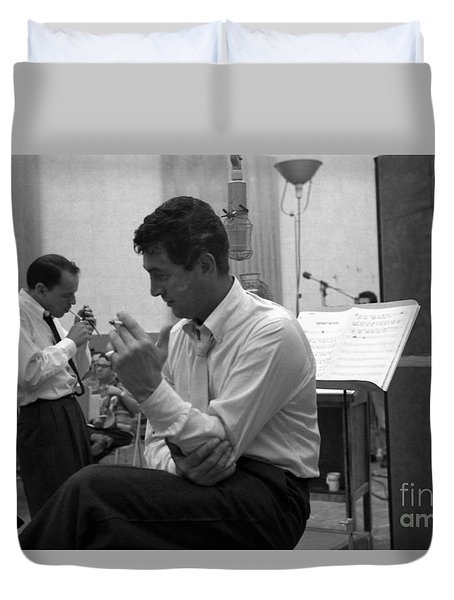 Frank Sinatra And Dean Martin At Capitol Records Studios Duvet Cover by The Titanic Project