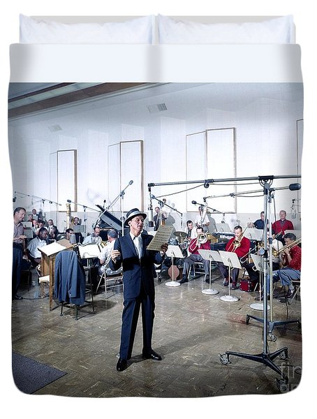 Frank Sinatra - Capitol Records Recording Studio #2 Duvet Cover by The Titanic Project