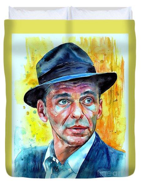 Frank Sinatra In Blue Fedora Duvet Cover