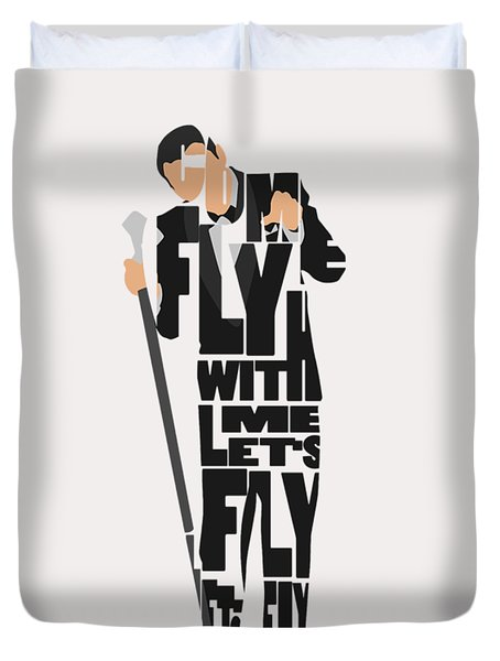 Duvet Cover featuring the painting Frank Sinatra Typography Art by Inspirowl Design