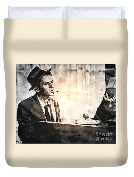 Frank Sinatra - Vintage Painting Duvet Cover by Ian Gledhill