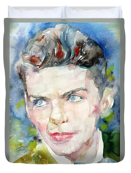 Frank Sinatra - Watercolor Portrait.8 Duvet Cover by Fabrizio Cassetta
