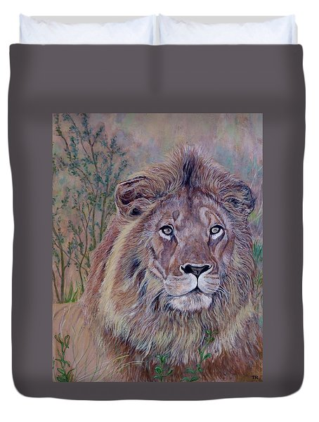 Duvet Cover featuring the painting Frank by Tom Roderick