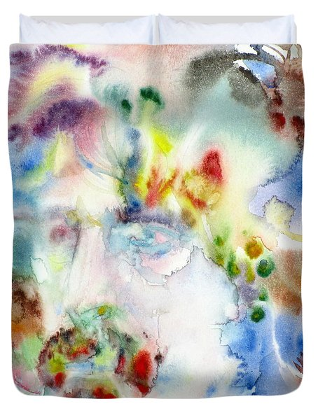 Frank Zappa - Watercolor Portrait.7 Duvet Cover