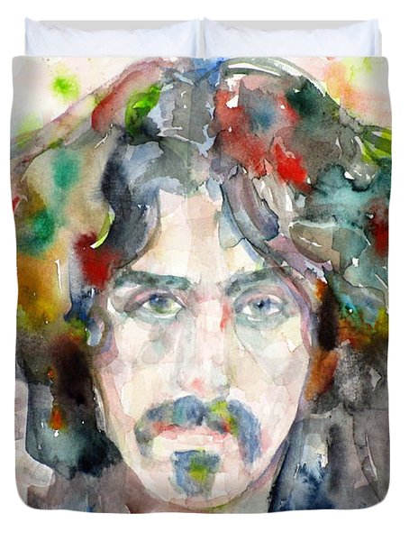 Frank Zappa - Watercolor Portrait.8 Duvet Cover
