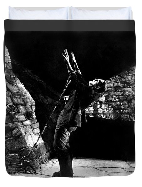 Frankensteins Monster Chained The Castle Played By Boris Karloff Duvet Cover