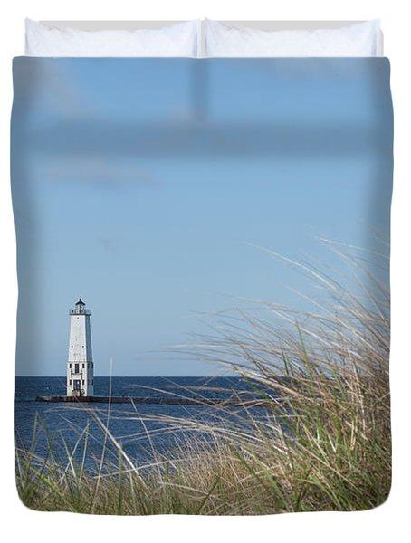 Frankfort North Breakwater Lighthouse Duvet Cover