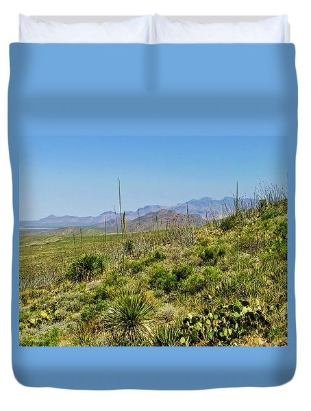 Franklin Mountains State Park Facing North Duvet Cover by Allen Sheffield