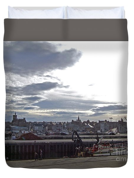 Fraserburgh Town From The Harbour Duvet Cover