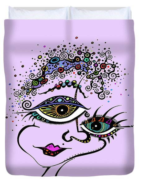 Duvet Cover featuring the drawing Frazzled by Tanielle Childers