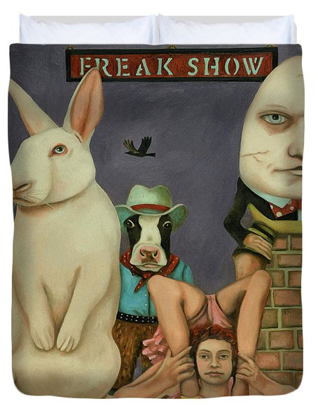 Duvet Cover featuring the painting Freak Show by Leah Saulnier The Painting Maniac