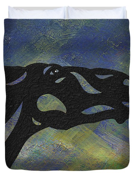 Duvet Cover featuring the painting Fred - Abstract Horse by Manuel Sueess