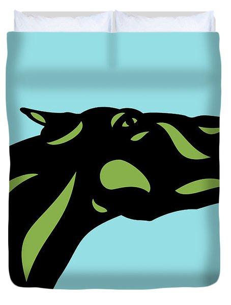 Fred - Pop Art Horse - Black, Greenery, Island Paradise Blue Duvet Cover