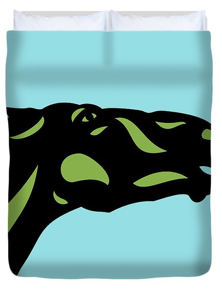 Duvet Cover featuring the digital art Fred - Pop Art Horse - Black, Greenery, Island Paradise Blue by Manuel Sueess