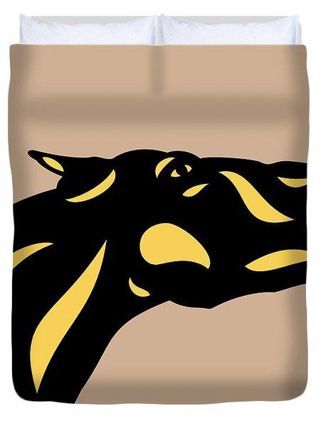 Fred - Pop Art Horse - Black, Primrose Yellow, Hazelnut Duvet Cover