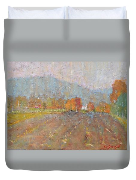 Duvet Cover featuring the painting Freddie Jayko's by Len Stomski