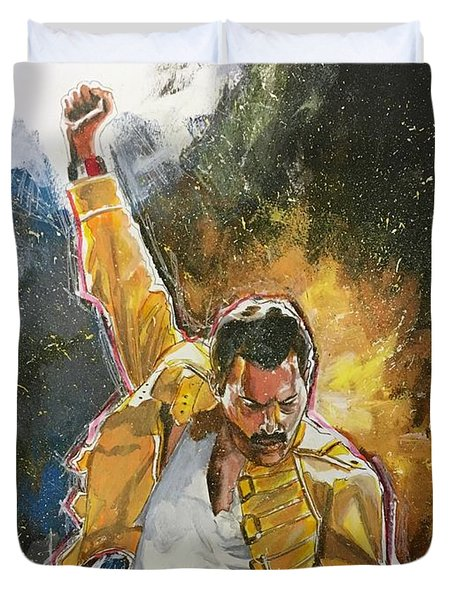 Duvet Cover featuring the painting Freddie by Joel Tesch