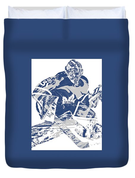 Frederik Andersen Toronto Maple Leafs Pixel Art 2 Duvet Cover