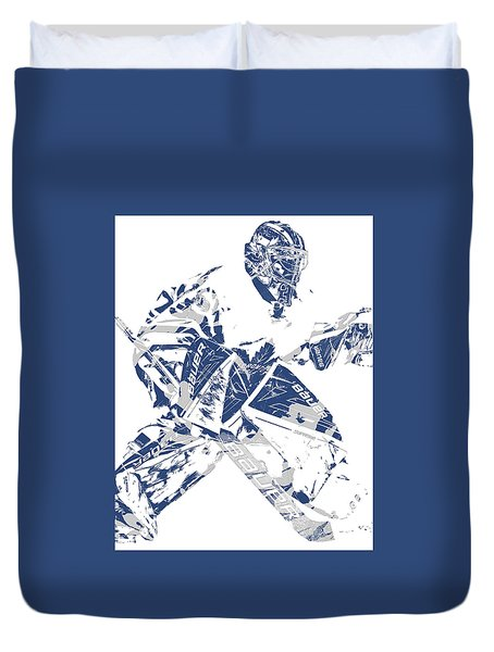 Frederik Andersen Toronto Maple Leafs Pixel Art 4 Duvet Cover