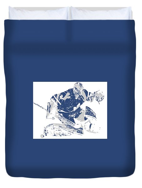 Frederik Andersen Toronto Maple Leafs Pixel Art 5 Duvet Cover